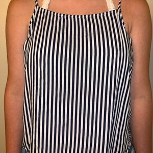a white and blue striped shirt